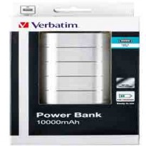 Verbatim PowerBank 10000MAH Black Plastic, 5v2A in and out. 2x out 49572