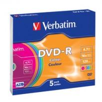 SCATOLA 5 DVD-R SLIM CASE 16X 4.7GB 120MIN. SERIGRAFATO COLORATO 43557