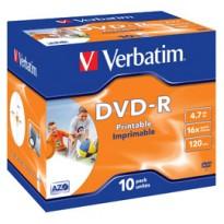 SCATOLA 10 DVD-R J.CASE 16X 4.7GB 120MIN. WIDE PHOTO STAMP INK-JET 43521
