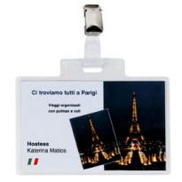 100 portanome Pass 4E 11x7cm c/clip in metallo Sei Rota 318214