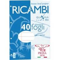 RICAMBI FORATI A4 1RIGO C/MARG. QUAXIMA 40FG 80GR PIGNA 00629030C
