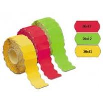 Rotolo 1500 etichette 26x12mm giallo fluo permanenti a onda Markin 3502612GI - Conf da 16 pz.