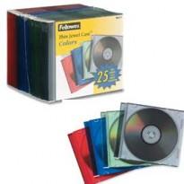 SCATOLA 25 CUSTODIE CD SLIM COLORI ASS.TRASPARENTI FELLOWES 98317