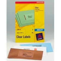 Poliestere adesivo J8560 trasparente 25fg A4 63,5x38,1mm (21et/fg) inkjet Avery J8560-25