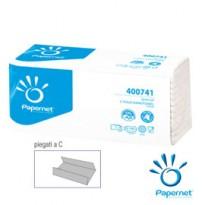 Pacco 144 asciugamani piegati a C Goffrato onda+ Ecolabel Papernet 400741 - Conf da 20 pz.