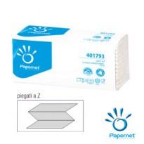Pacco 143 asciugamani piegati a Z goffrato onda+ Ecolabel Papernet 401793 - Conf da 20 pz.