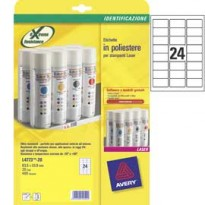 Poliestere adesivo L4773 bianco 20fg A4 63,5x33,9mm (24et/fg) laser Avery L4773-20