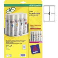 Poliestere adesivo L4774 bianco 20fg A4 99,1x139mm (4et/fg) laser Avery L4774-20