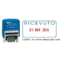 Timbro S260/L1 DATARIO + RICEVUTO 4mm autoinchiostrante COLOP S260L1.BLS