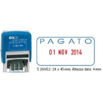 Timbro S260/L2 DATARIO + PAGATO 4mm autoinchiostrante COLOP S260L2.BLS