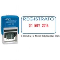 Timbro S260/L3 DATARIO + REGISTRATO 4mm autoinchiostrante COLOP S260L3.BLS