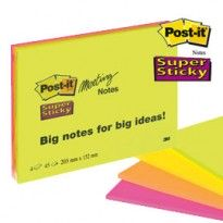 BLOCCO 45foglietti Post-it Super Sticky 203x152mm MEETING NOTE NEON 6845-SSP 7644 - Conf da 4 pz.