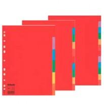 Separatore economy in cartoncino 160gr colorato 10 tasti A4 ESSELTE 100201