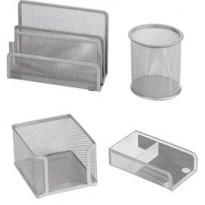 Set scrivania 4 accessori in rete metallica argento 1424 LEBEZ 1424-S
