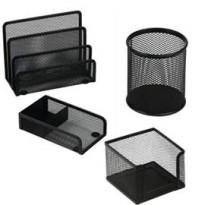 Set scrivania 4 accessori in rete metallica nero 1424 LEBEZ 1424-N