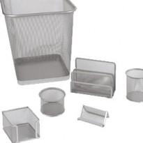 Set scrivania 6 accessori in rete metallica argento 1426 LEBEZ 1426-S