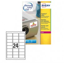 Poliestere adesivo extra L6141 bianco 20fg A4 63,5x33,9mm (24et/fg) laser Avery L6141-20