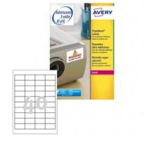 Poliestere adesivo extra L6140 bianco 20fg 45,7x25,4mm (40et/fg) laser Avery L6140-20