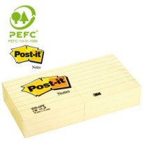 BLOCCO 100fg Post-it 76x76mm GIALLO A RIGHE 630-6PK 50848 - Conf da 6 pz.