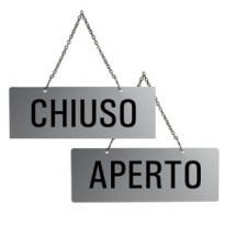 CARTELLO APERTO/CHIUSO 17,5X6,5cm CON CATENELLA 31212-E