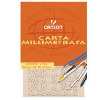 BLOCCO CARTA OPACA MILLIMETRATA 210x297mm 10FG 80GR CANSON C200005812 - Conf da 25 pz.