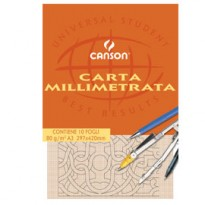 BLOCCO CARTA OPACA MILLIMETRATA 230x330mm 10FG 80GR CANSON C200005813 - Conf da 25 pz.