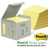 BLOCCO 100foglietti Post-it Notes Green 76x76mm 654-1B GIALLO 7100172252 - Conf da 6 pz.