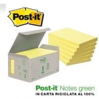 BLOCCO 100foglietti Post-it Notes Green 76x127mm 655-1B GIALLO 7100172257 - Conf da 6 pz.