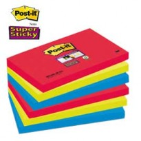 BLOCCO 90foglietti Post-it Super Sticky 76x127mm 655-6SS-JP BORA BORA 76501 - Conf da 6 pz.