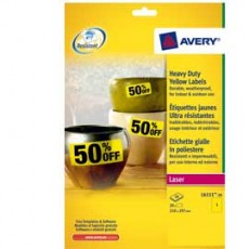 Poliestere adesivo L6111 giallo fluo 20fg A4 210x297mm (1et/fg) laser Avery L6111-20