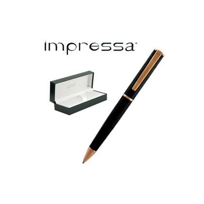 PENNA SFERA IMPRESSA NERO-ROSEGOLD punta M MONTEVERDE J029865