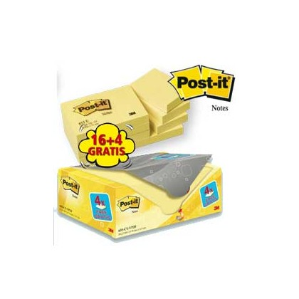 VALUE PACK 16+4 BLOCCO 100fg Post-it 38x51mm 72GR 653CY-VP20 7100172332