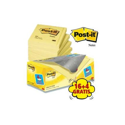 VALUE PACK 16+4 BLOCCO 100fg Post-it 76x76mm 72GR 654CY-VP20 7100172333