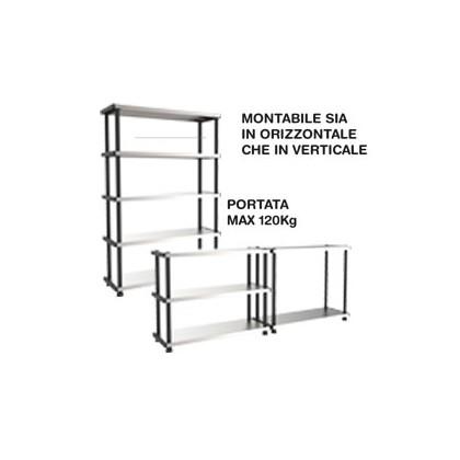SCAFFALE PPL 5 RIPIANI METALLO 119x45x185cm GRIGIO/NERO TERRY 1003054