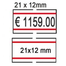 PACK 10 ROTOLI 1000 ETICH. 21x12mm BIANCO PERM. con RIGHE ROSSE Printex 2112rbp6st