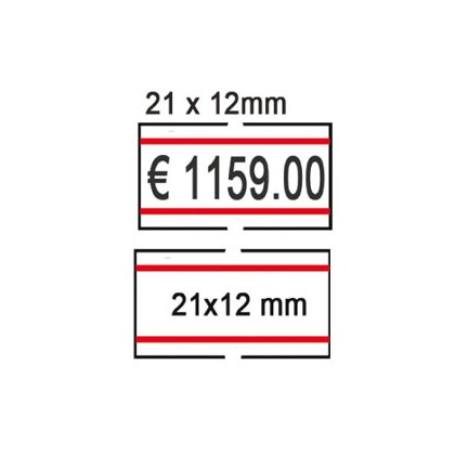 PACK 10 ROTOLI 1000 ETICH. 21x12mm BIANCO REMOV. con RIGHE ROSSE Printex 2112rbr6st