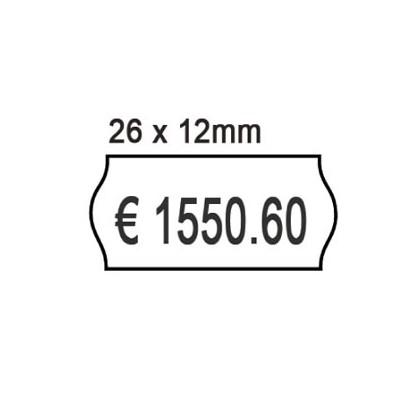 PACK 10 ROTOLI 1000 ETICH. 26x12mm ONDA BIANCO PERM. Printex 2612sbp10