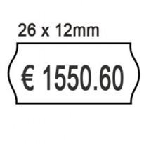 PACK 10 ROTOLI 1000 ETICH. 26x12mm ONDA BIANCO REMOV. Printex 2612sbr10