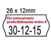 PACK 10 ROTOLI 1000 ETICH. 26x12mm ONDA  BIANCO PERM. Printex 2612sfp14st