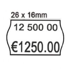 PACK 10 ROTOLI 1000 ETICH. 26x16mm ONDA BIANCO REMOV. Printex 2616sbr7