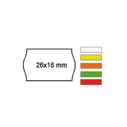 PACK 10 ROTOLI 1000 ETICH. 26x16mm ONDA GIALLO PERM. Printex 2616sfp7gi