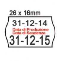PACK 10 ROTOLI 1000 ETICH. 26x16mm ONDA  BIANCO PERM. Printex 2616sbp10stps