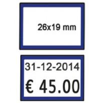 PACK 10 ROTOLI 600 ETICH. 26x19mm BIANCO PERM. CORNICE BLU Printex B10/2619BPSTBB
