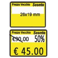 PACK 10 ROTOLI 600 ETICH. 26x19mm  GIALLO REMOV. Printex B10/2619/CRGSTS