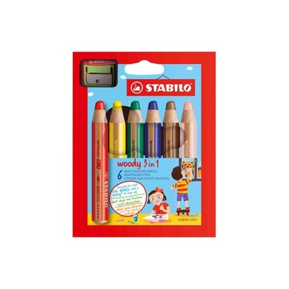 Astuccio 6 pastelli STABILO WOODY 3in1 + TEMPERINO 8806-2