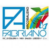 ALBUM ARCOBALENO (24X33CM) FG 10 140GR 5 COLORI FABRIANO 44312433 - Conf da 10 pz.
