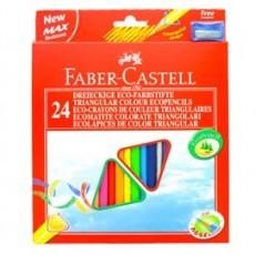ASTUCCIO 24 PASTELLI COLORATI TRIANGOLARI ECO + TEMPERINO FABER CASTELL 120524