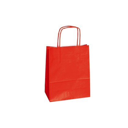25 SHOPPERS CARTA KRAFT 18x8x24CM TWISTED ROSSO 072086