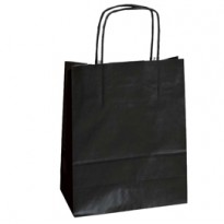 25 SHOPPERS CARTA KRAFT 18x8x24CM TWISTED NERO 072123