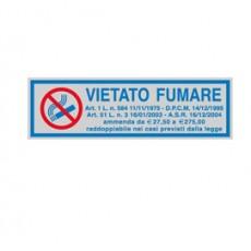 TARGHETTA ADESIVA 165x50mm VIETATO FUMARE con normativa 96701 - Conf da 10 pz.